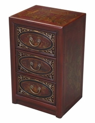 "25"" Antique Style End Table with Bas-Relief Floral Design in Red Leather - frc5021"