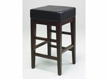 "25"" Square Barstool in Black Faux Leather / Espresso Base - Office Star - ES25VS3"