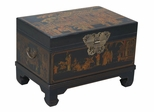 "26"" Antique Style End Table / Storage Trunk in Black Leather - frc5043"