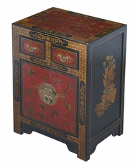 "27"" Antique Style End Table with Nature Motifs in Black Leather - frc5072"