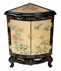 "28"" Chinese Corner Cabinet - Birds and Flowers Design - frc1208"