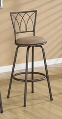 "29"" Bar Stool (Set of 2) in Black / Brown Microfiber - Coaster - 122020-SET"