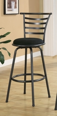 "29"" Bar Stool (Set of 2) in Gunmetal Gray / Black Microfiber - Coaster - 122010-SET"