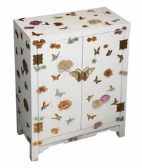 "29"" Chinese Storage Cabinet with Spring Romance Motif in White Lacquer - frc1200"