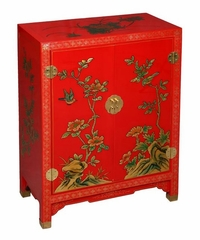"29"" Imperial-Style Storage Cabinet / End Table with Nature Motif in Crimson / Gold - frc1195"