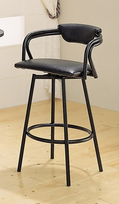29 Inch Bar Stool (Set of 2) in Black Vinyl - Coaster