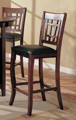 29 Inch Bar Stool (Set of 2) in Dark Cherry / Black Vinyl Seats - Coaster