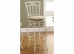 "29"" White Metal Barstool with Upholstered Seat - 122050"