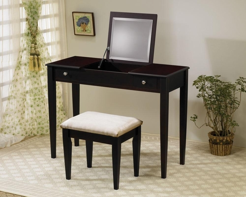 2PC Flip Top Vanity and Stool Set in Cappuccino - 300080