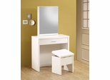 2PC White Vanity Set with Hidden Mirror Storage  - 300290