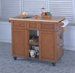 "3-Drawer Kitchen Butler - ""Medium Oak"" - Powell Furniture - 534-477"