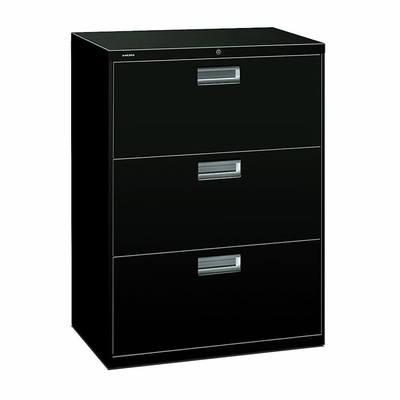 3 Drawer Locking Lateral File Cabinet in Black - HON673LP
