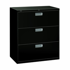 3 Drawer Locking Lateral File Cabinet in Black - HON683LP