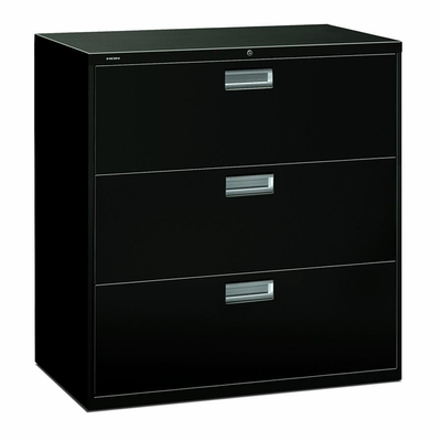 3 Drawer Locking Lateral File Cabinet in Black - HON693LP