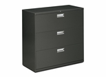 3 Drawer Locking Lateral File Cabinet in Charcoal - HON693LS