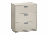 3 Drawer Locking Lateral File Cabinet in Gray - HON683LQ