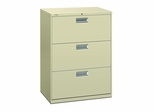 3 Drawer Locking Lateral File Cabinet in Putty - HON673LL