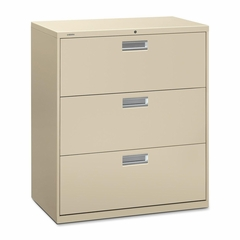 3 Drawer Locking Lateral File Cabinet in Putty - HON683LL