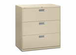 3 Drawer Locking Lateral File Cabinet in Putty - HON693LL