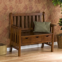 SEI 3 Drawer Country Bench Oak
