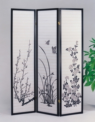 3-Panel Black Wood Screen - Ichiko - 02286