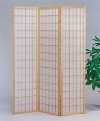 3-Panel Natural Finish Wood Screen - Naomi - 02285
