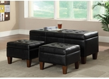 3 Piece Black Vinyl Bench & Ottoman Set - 508010