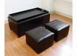 3-Piece Bycast Storage Bench and 2 Ottomans Set - Hialeah - 05659