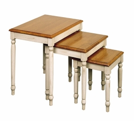 3-Piece Nesting Tables in Antique White and Cherry - Office Star - CC19