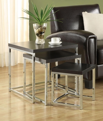 3 Piece Nesting Tables with Chrome Legs - 901063