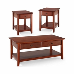 3 Piece Occasional Table Set in Classic Cherry - Cocktail Table and Two End Tables - CROSLEY-KF13001CH