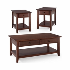 3 Piece Occasional Table Set in Vintage Mahogany - Cocktail Table and Two End Tables - CROSLEY-KF13001MA