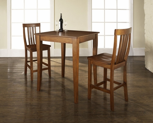 3-Piece Pub Dining Set with Cabriole Leg and School House Stools in Classic Cherry Finish - Crosley Furniture - KD320003CH