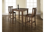 3-Piece Pub Dining Set with Cabriole Leg and School House Stools in Vintage Mahogany Finish - Crosley Furniture - KD320003MA