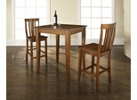 3-Piece Pub Dining Set with Cabriole Leg and Shield Back Stools in Classic Cherry Finish - Crosley Furniture - KD320002CH