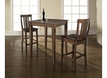 3-Piece Pub Dining Set with Cabriole Leg and Shield Back Stools in Vintage Mahogany Finish - Crosley Furniture - KD320002MA