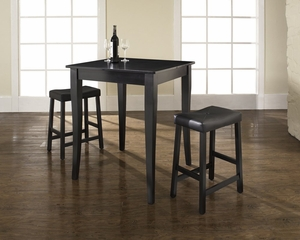 3-Piece Pub Dining Set with Cabriole Leg and Upholstered Saddle Stools in Black Finish - Crosley Furniture - KD320004BK