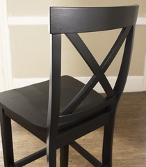 3-Piece Pub Dining Set with Cabriole Leg and X-Back Stools in Black Finish - Crosley Furniture - KD320001BK