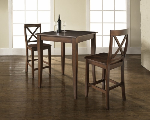 3-Piece Pub Dining Set with Cabriole Leg and X-Back Stools in Vintage Mahogany Finish - Crosley Furniture - KD320001MA