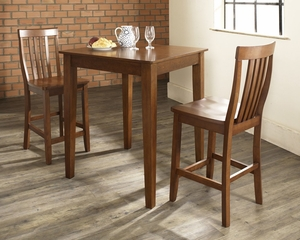 3-Piece Pub Dining Set with Tapered Leg and School House Stools in Classic Cherry Finish - Crosley Furniture - KD320007CH