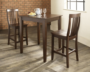 3-Piece Pub Dining Set with Tapered Leg and School House Stools in Vintage Mahogany Finish - Crosley Furniture - KD320007MA