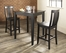 3-Piece Pub Dining Set with Tapered Leg and Shield Back Stools in Black Finish - Crosley Furniture - KD320006BK