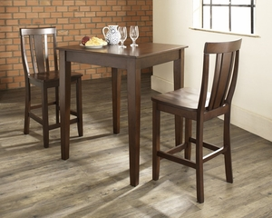 3-Piece Pub Dining Set with Tapered Leg and Shield Back Stools in Vintage Mahogany Finish - Crosley Furniture - KD320006MA