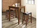 3-Piece Pub Dining Set with Tapered Leg and Upholstered Saddle Stools in Classic Cherry Finish - Crosley Furniture - KD320008CH