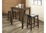3-Piece Pub Dining Set with Tapered Leg and Upholstered Saddle Stools in Vintage Mahogany Finish - Crosley Furniture - KD320008MA
