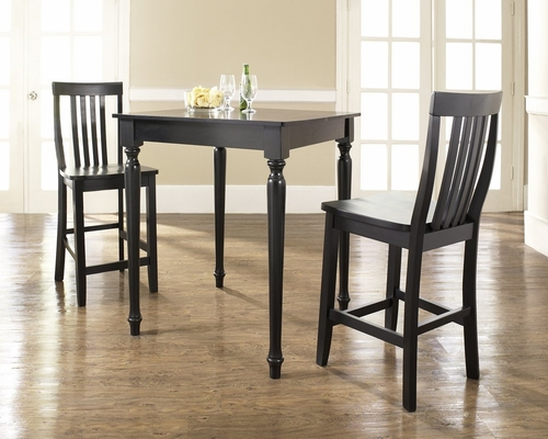 3-Piece Pub Dining Set with Turned Leg and School House Stools in Black Finish - Crosley Furniture - KD320011BK