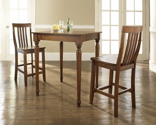 3-Piece Pub Dining Set with Turned Leg and School House Stools in Classic Cherry Finish - Crosley Furniture - KD320011CH