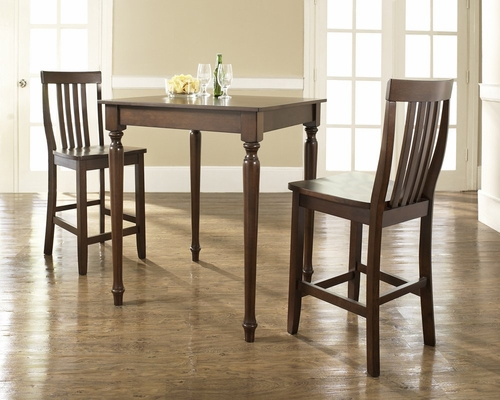 3-Piece Pub Dining Set with Turned Leg and School House Stools in Vintage Mahogany Finish - Crosley Furniture - KD320011MA