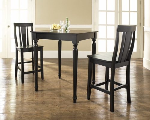 3-Piece Pub Dining Set with Turned Leg and Shield Back Stools in Black Finish - Crosley Furniture - KD320010BK