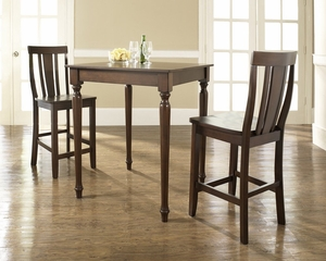 3-Piece Pub Dining Set with Turned Leg and Shield Back Stools in Vintage Mahogany Finish - Crosley Furniture - KD320010MA